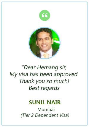 Sunil Nair Tier 2 Dependent Visa