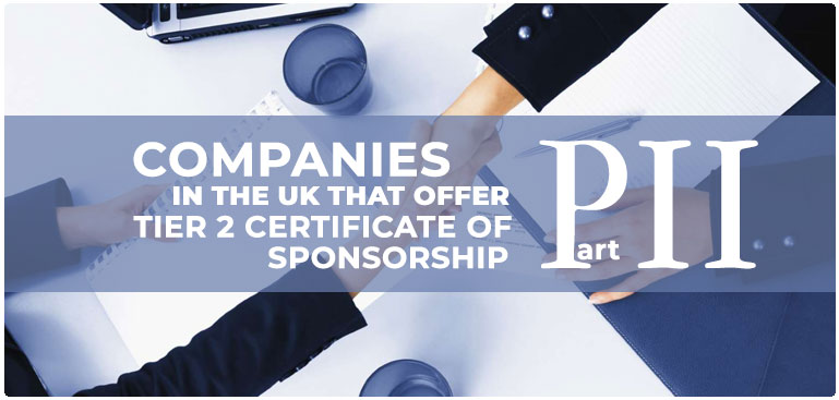 Companies that provide Tier 2 sponsorship certificate in UK, part 2